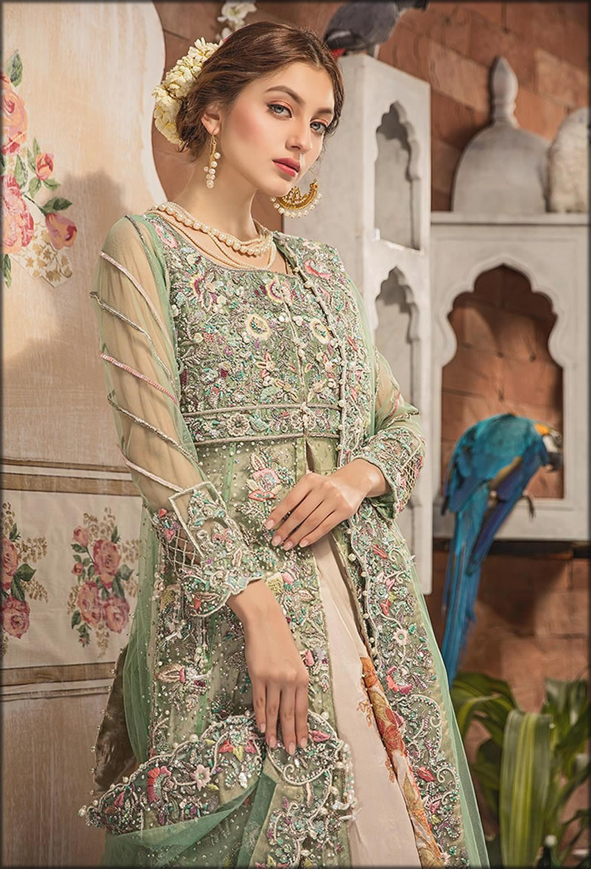 Heavily Embellished Mint Green Gown