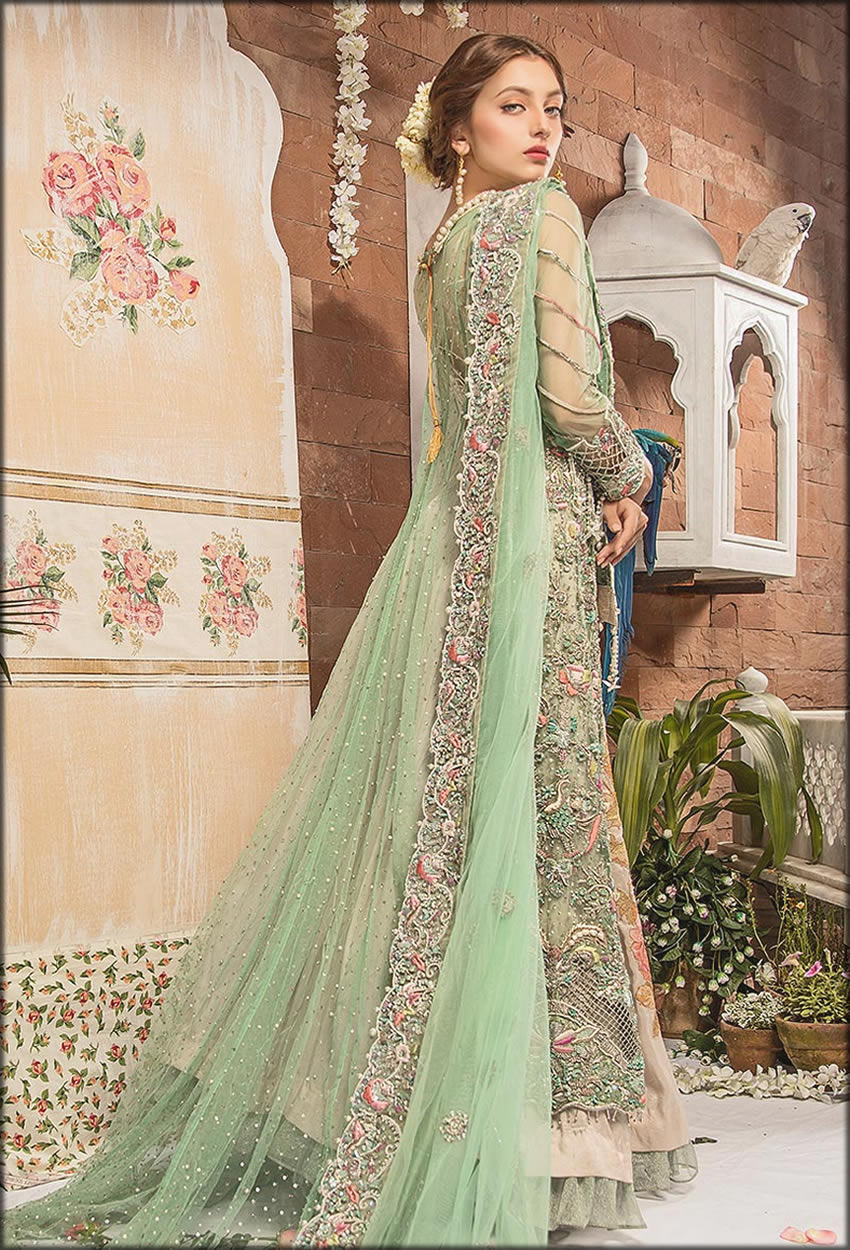 Lotus Mint Green Embroidered Bridal Gown