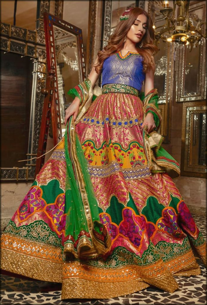 Mahru Blue Embroidered Zahra Ahmad Bridal Collection