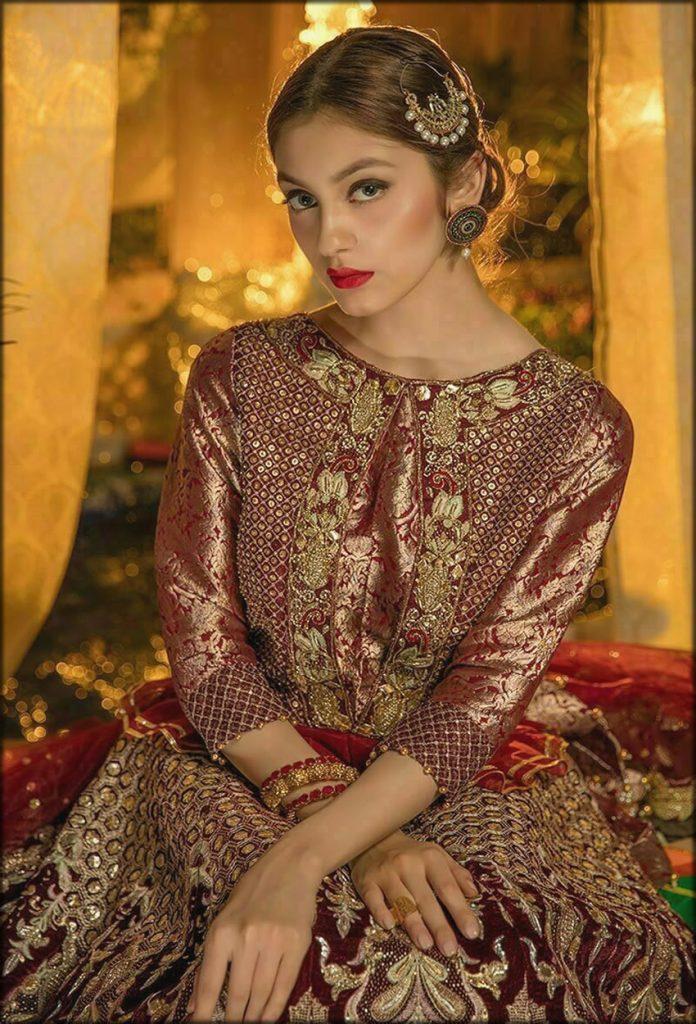 Maroon Velvet And Jamawar Dress
