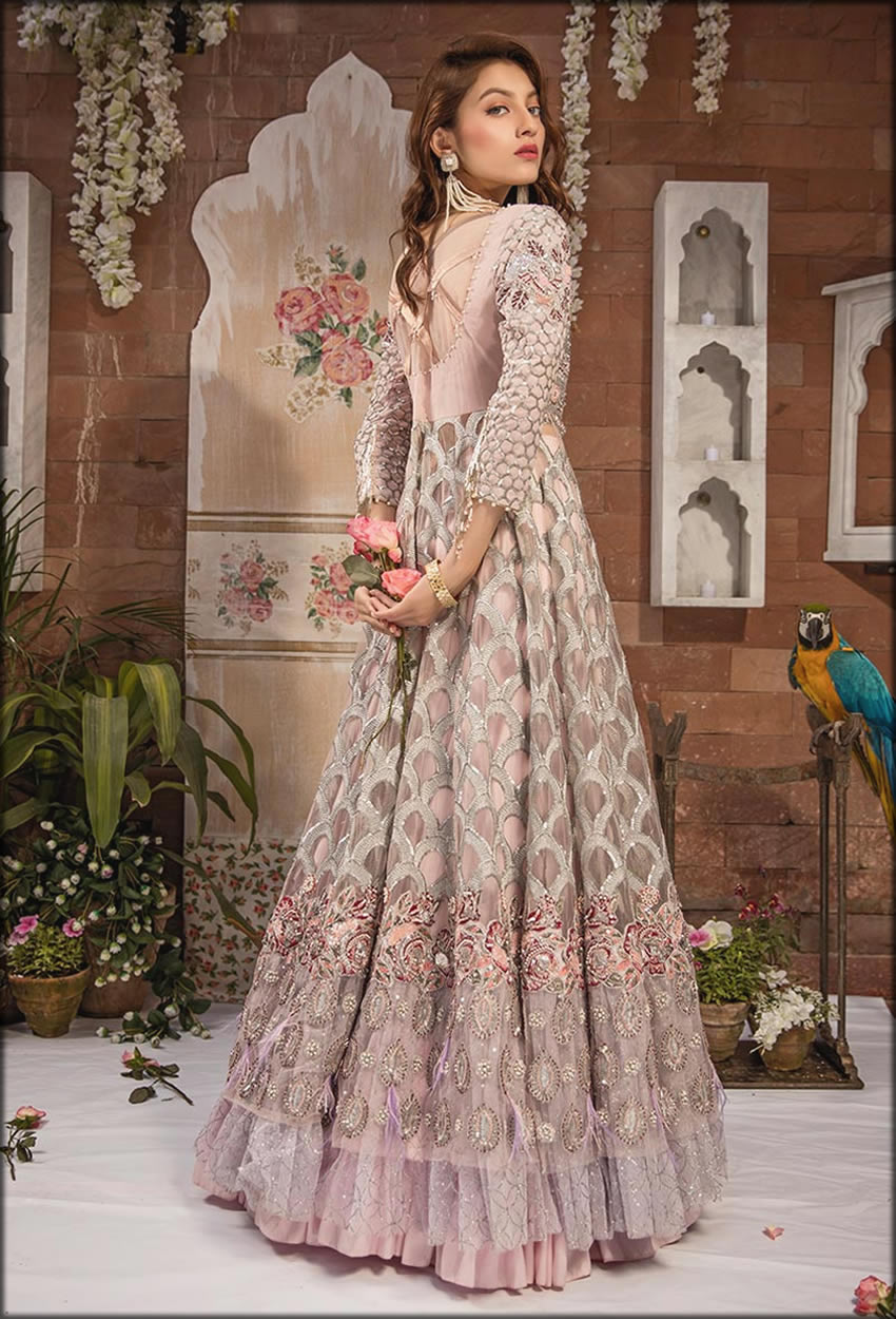 Net Embroidered Silver Gown