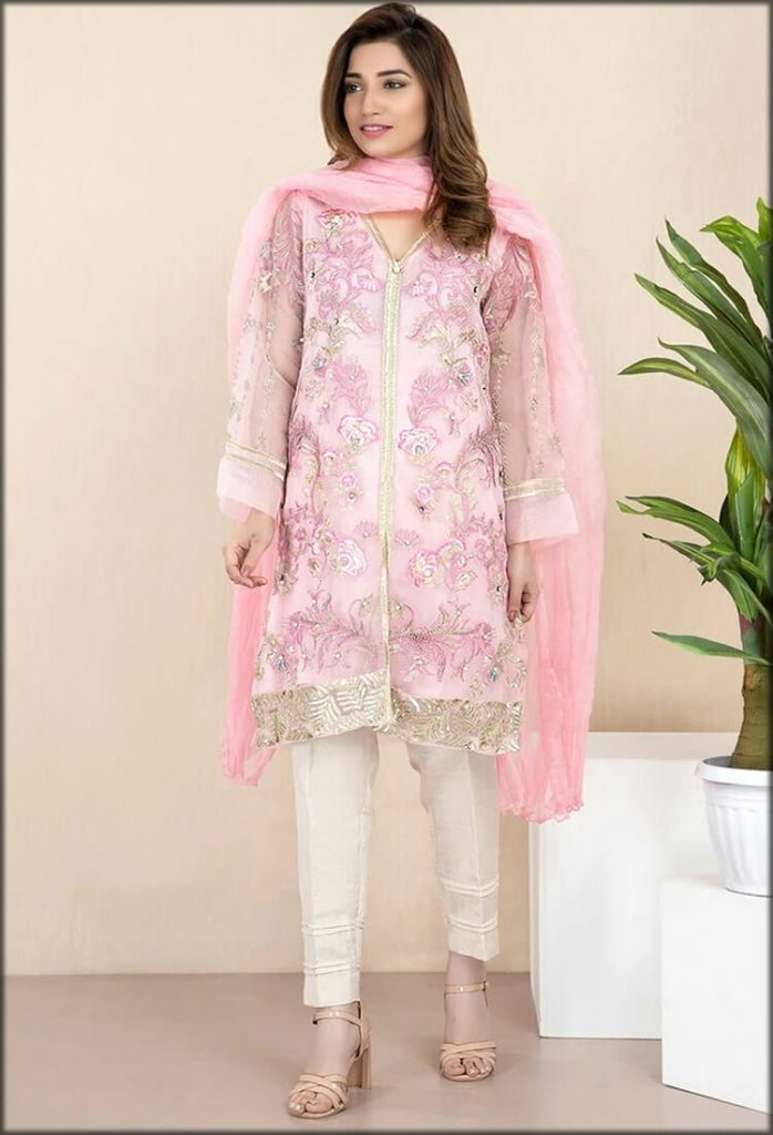 Pink Two Piece Formal Stitched With Inner and Dupatta