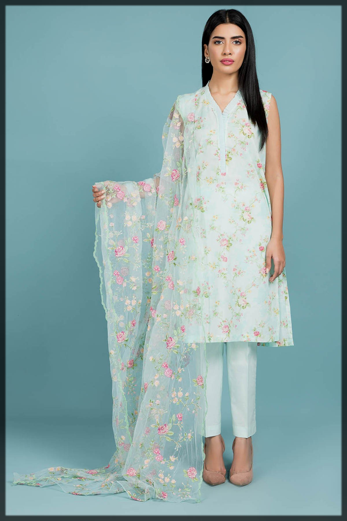 Printed 3PC suit with poly net dupatta