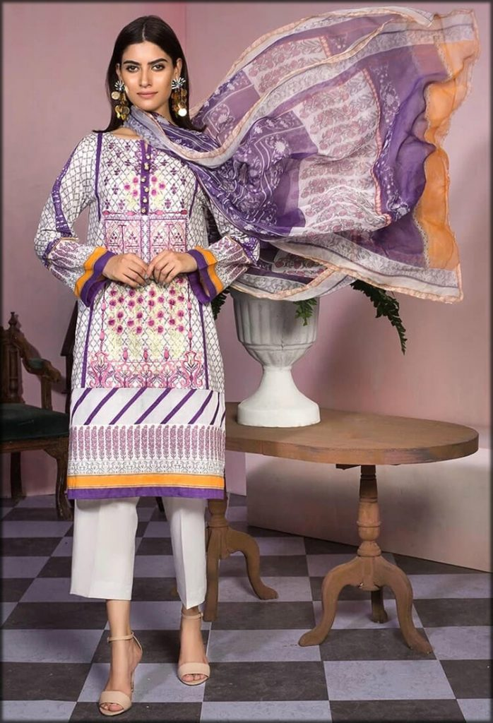 Purple Lawn Embroidery with Bamber Dupatta