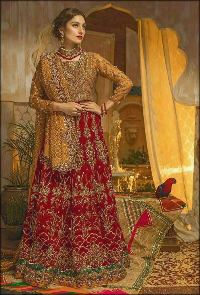 Red And Orange Embroidered And Embellished Bride Wear