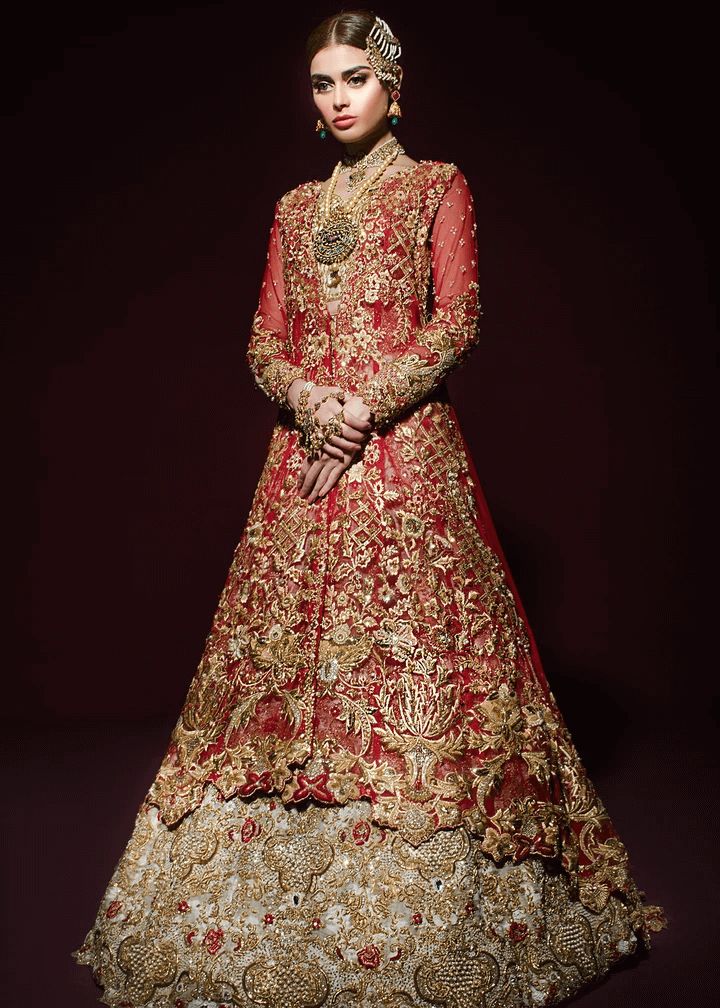 Red embroidered organza based bodiced gown