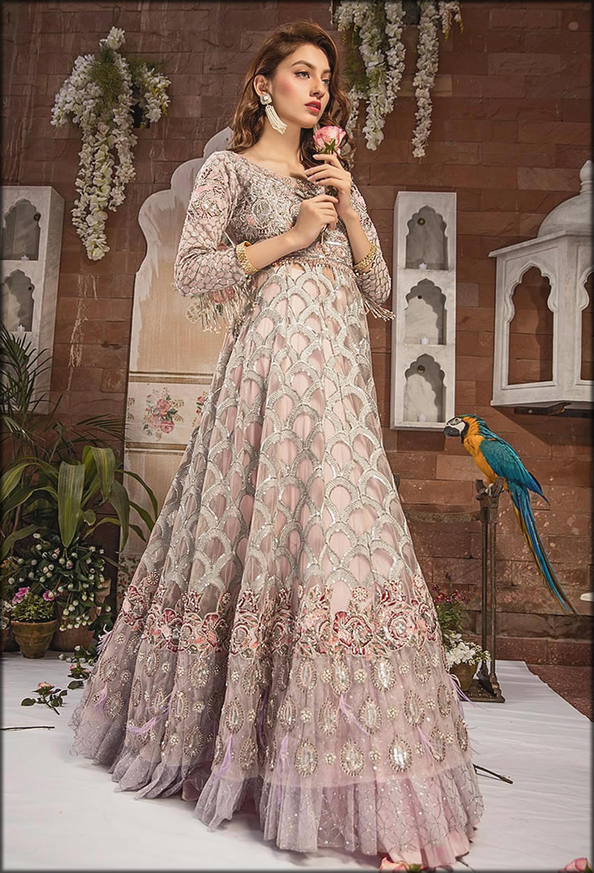 Rose Silver Floor Length Embroidered Gown