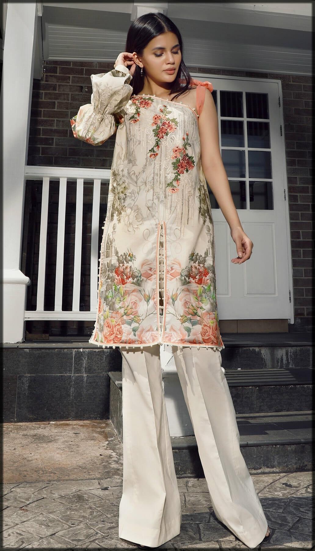 Stylish Digital Printed Embroidered Cotton Shirt