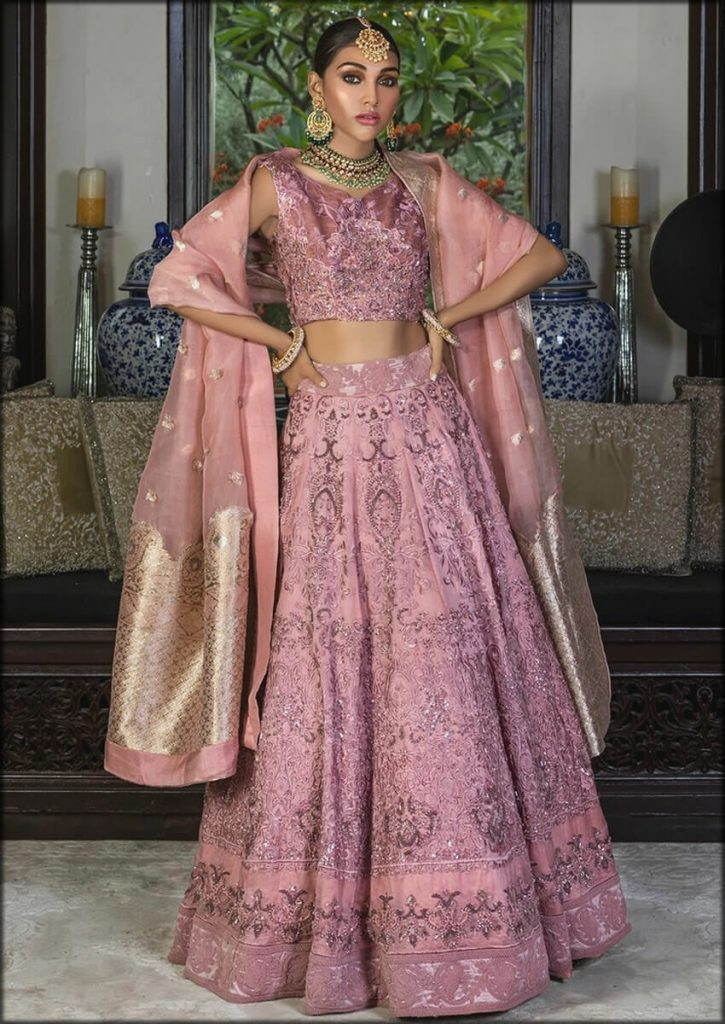 Tea Pink Lehenga Choli HSY Bridal Dresses Collection