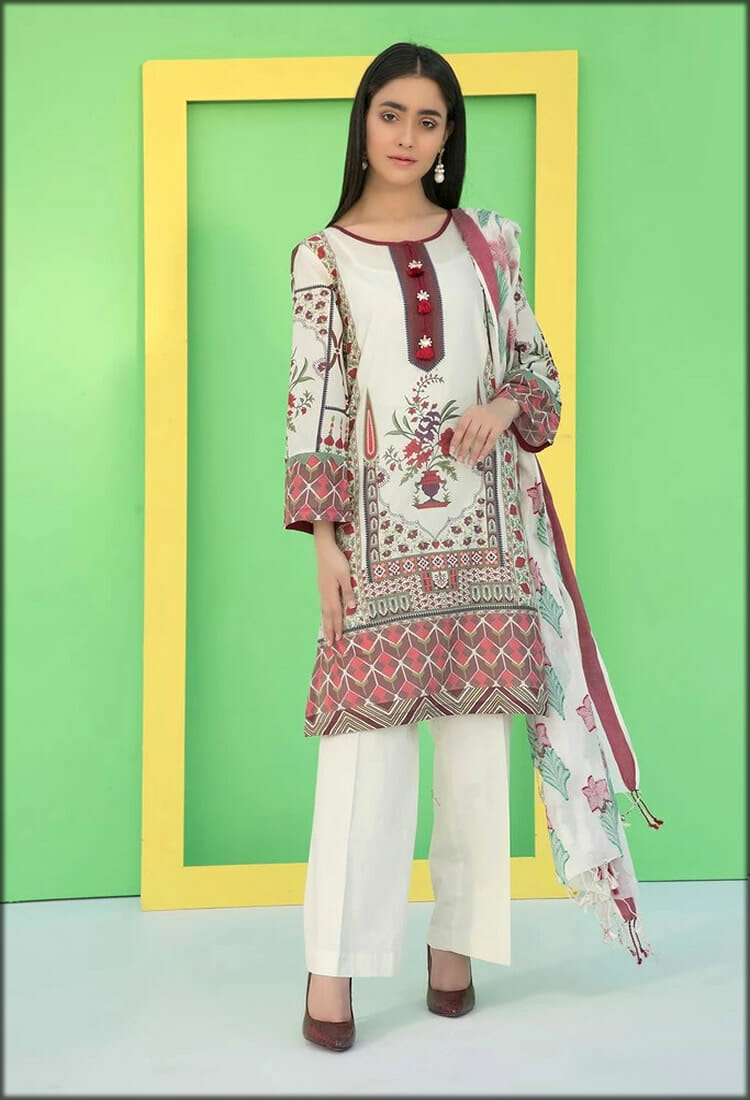 Three Piece Lawn Dress with Bumble Dupatta