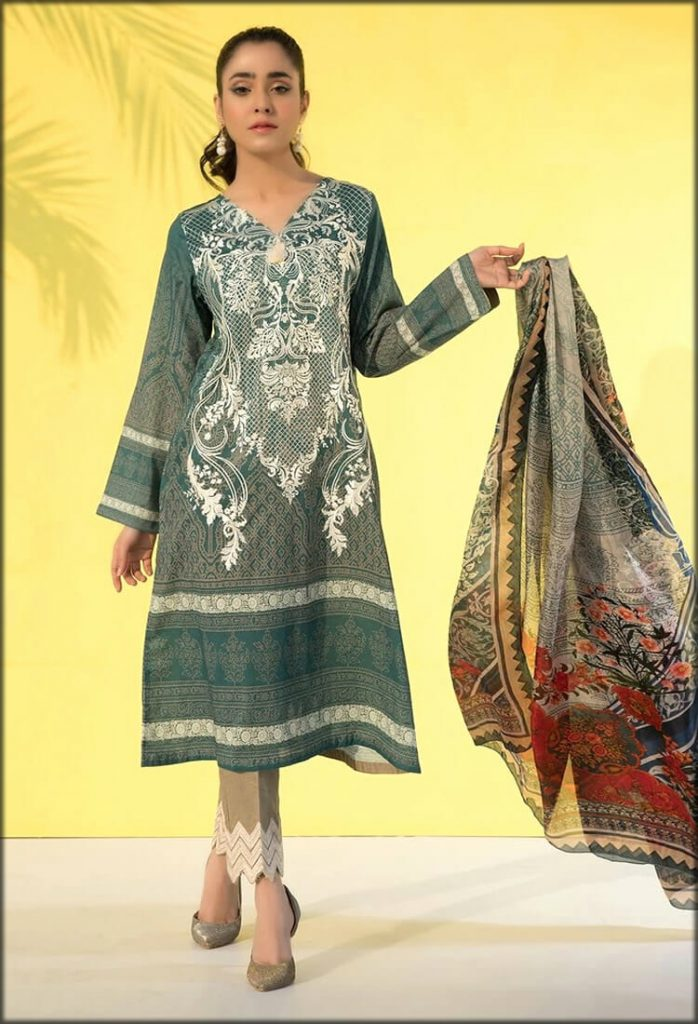 Three Piece Print Embroidery With Silk Dupatta