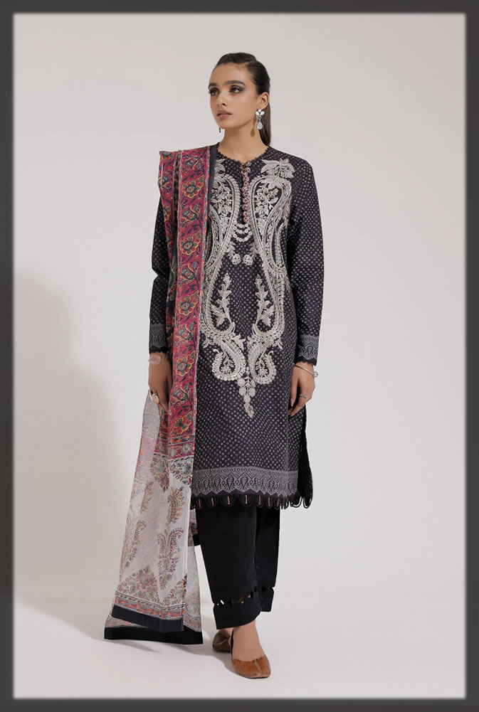Three Pieces Embroidered Suits with Flowy Dupattas