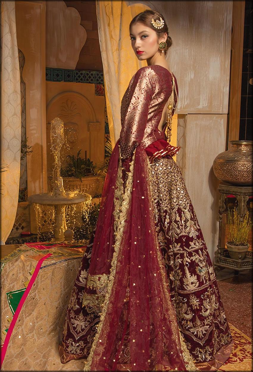 Top With Elegant Lehenga In Maroon Zahra Ahmad Bridal Collection