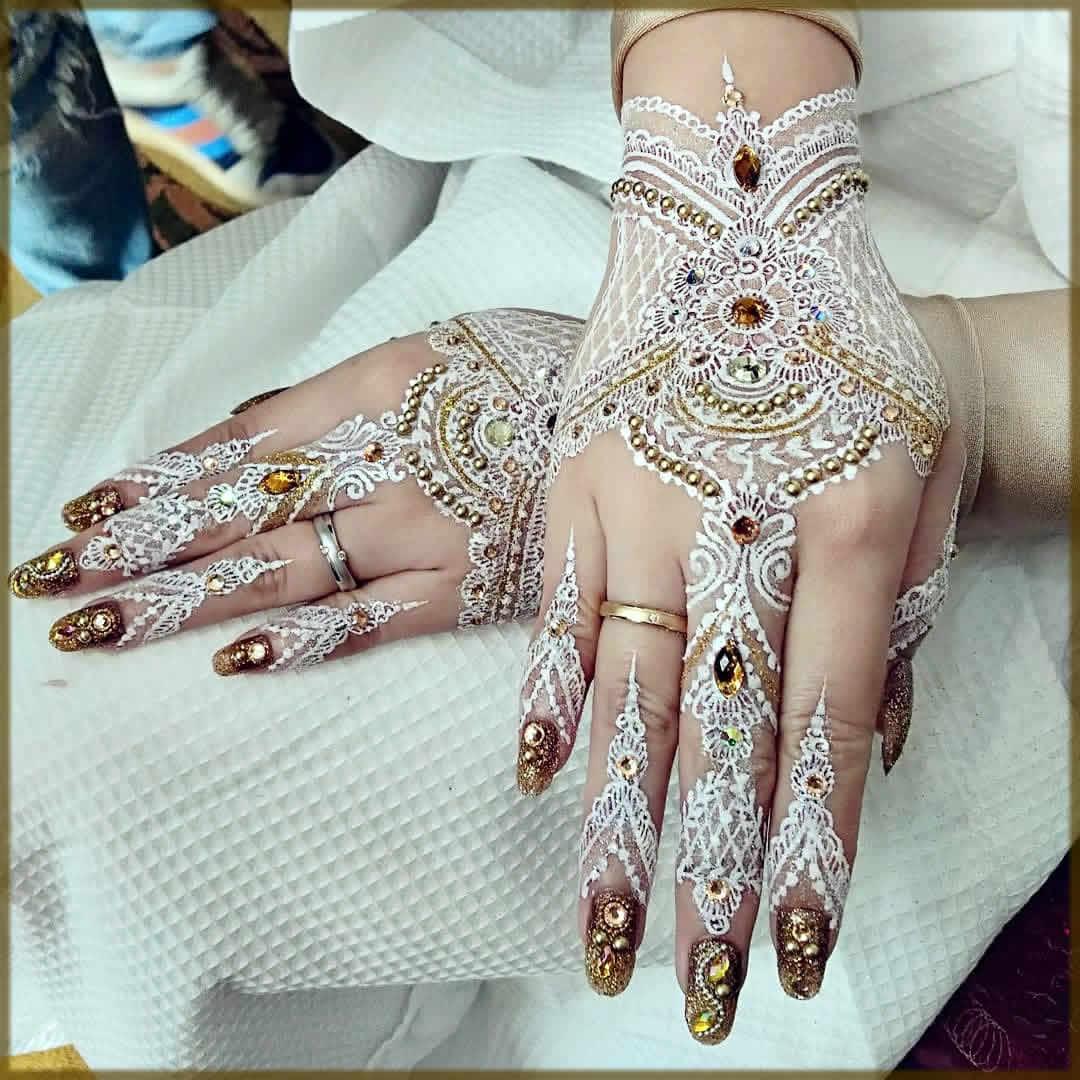beautifull white mehndi designs