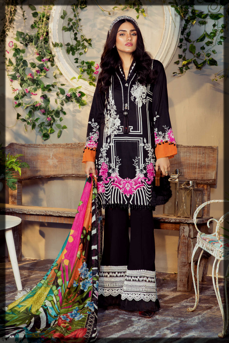 black printed suit by maria b