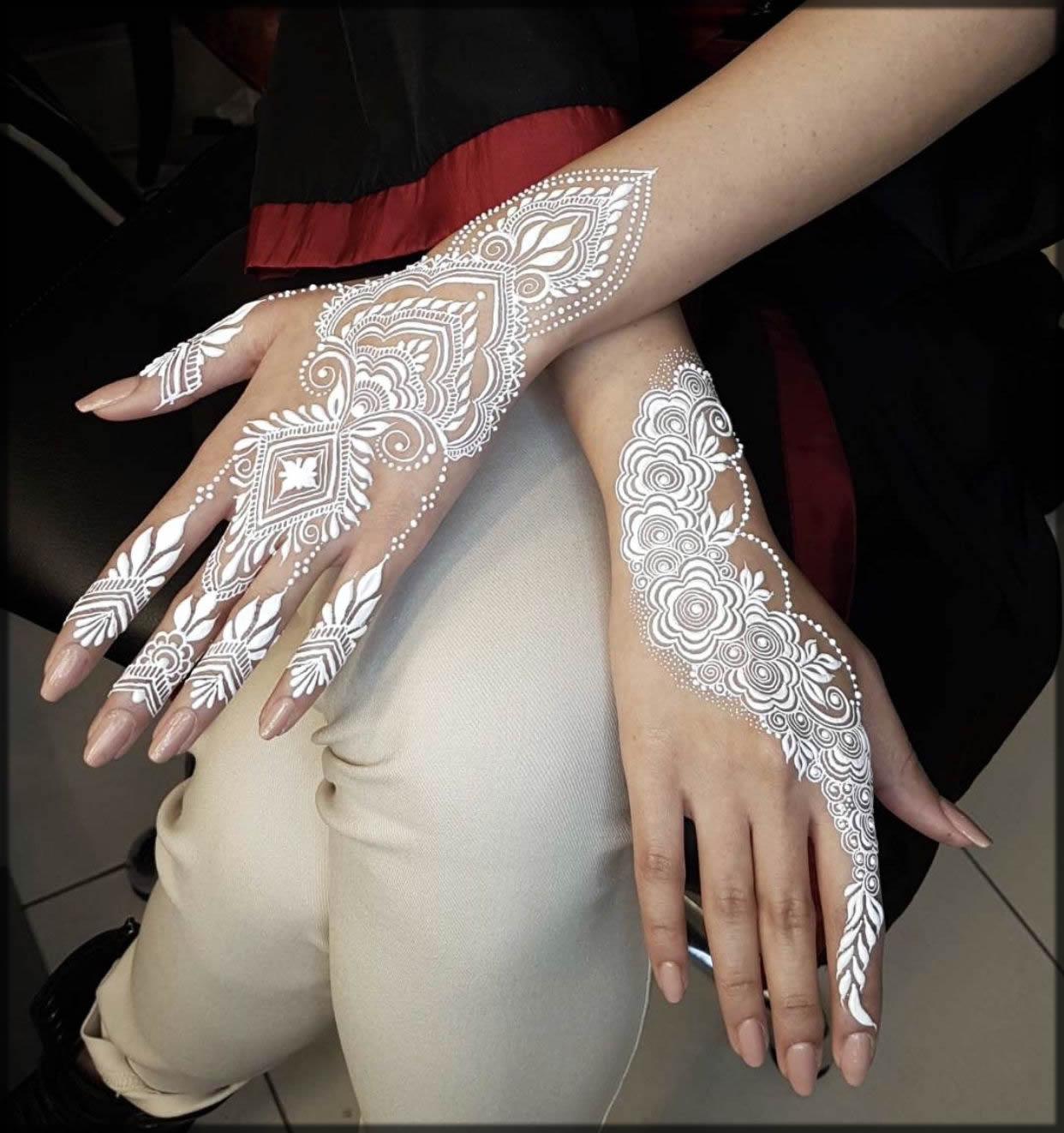 classy white mehndi designs for bride