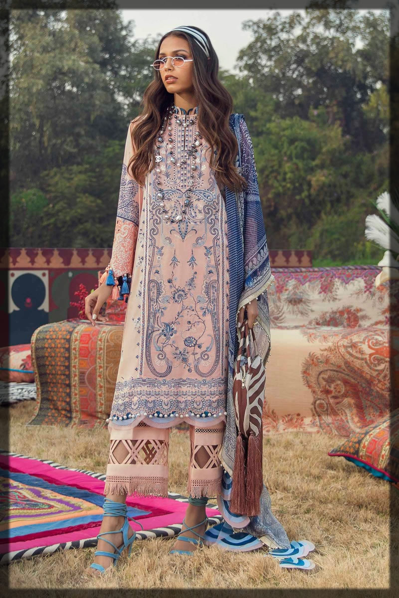 contrasting peach and steel blue lawn dress