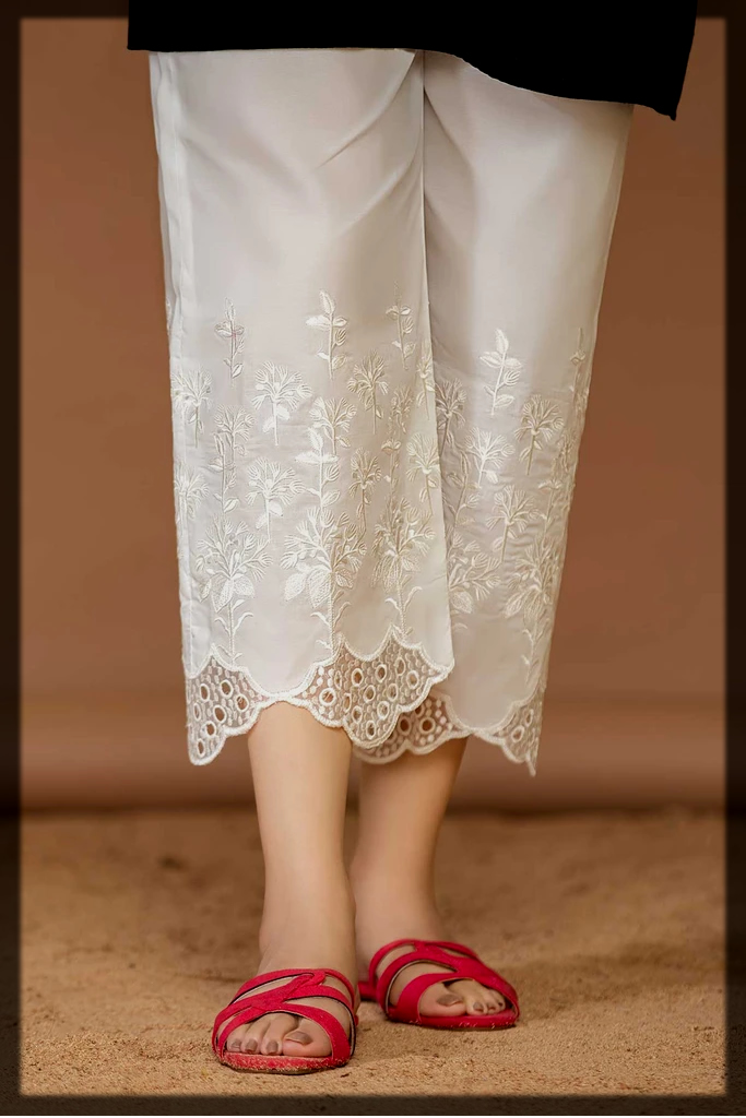 cotton embroidered trouser