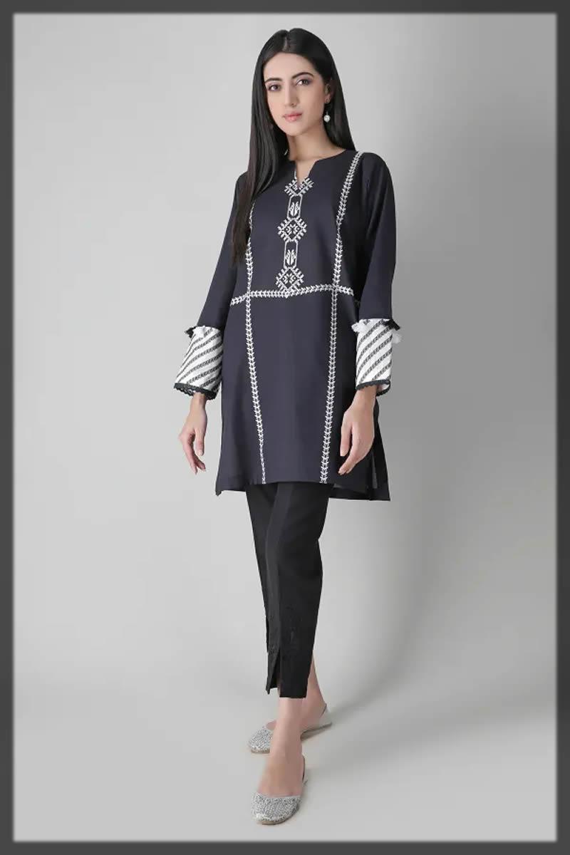 elegant black embroidered summer kurta