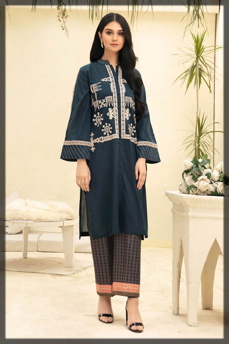 embroidered navy blue fine lawn