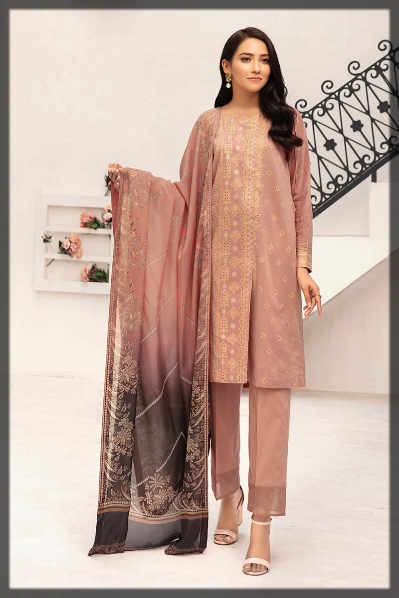 embroidered tea pink lawn dress