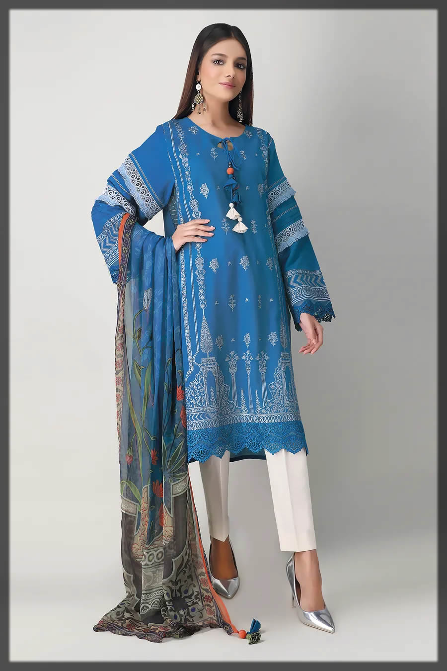 enchanted blue summer embroidered dress