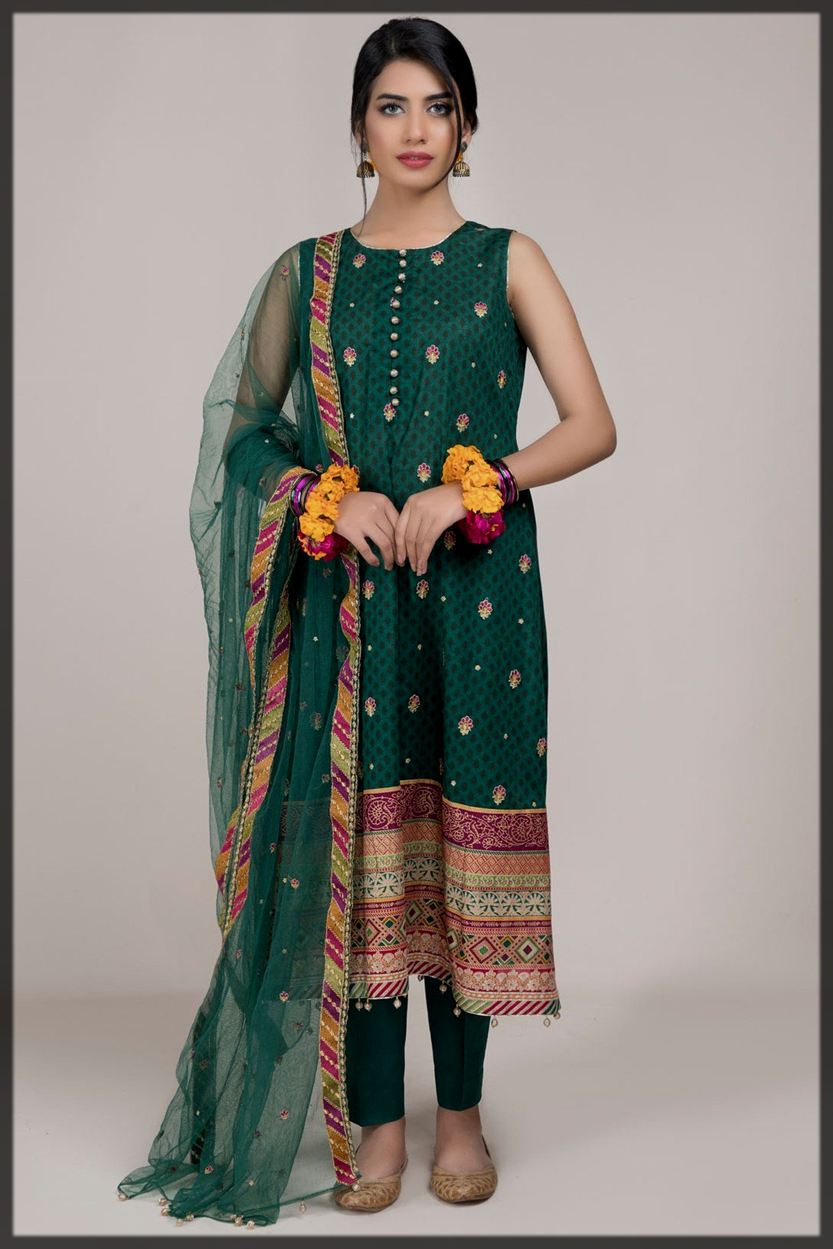 fab Printed 3Pc suit with Poly net dupatta