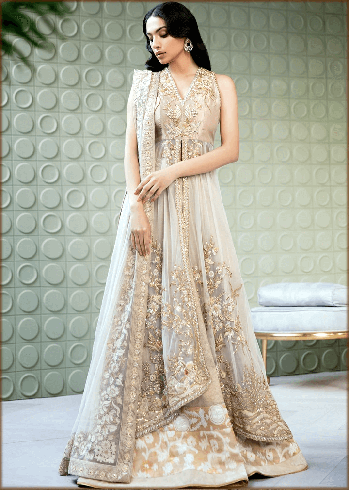 front open high-low walima gown