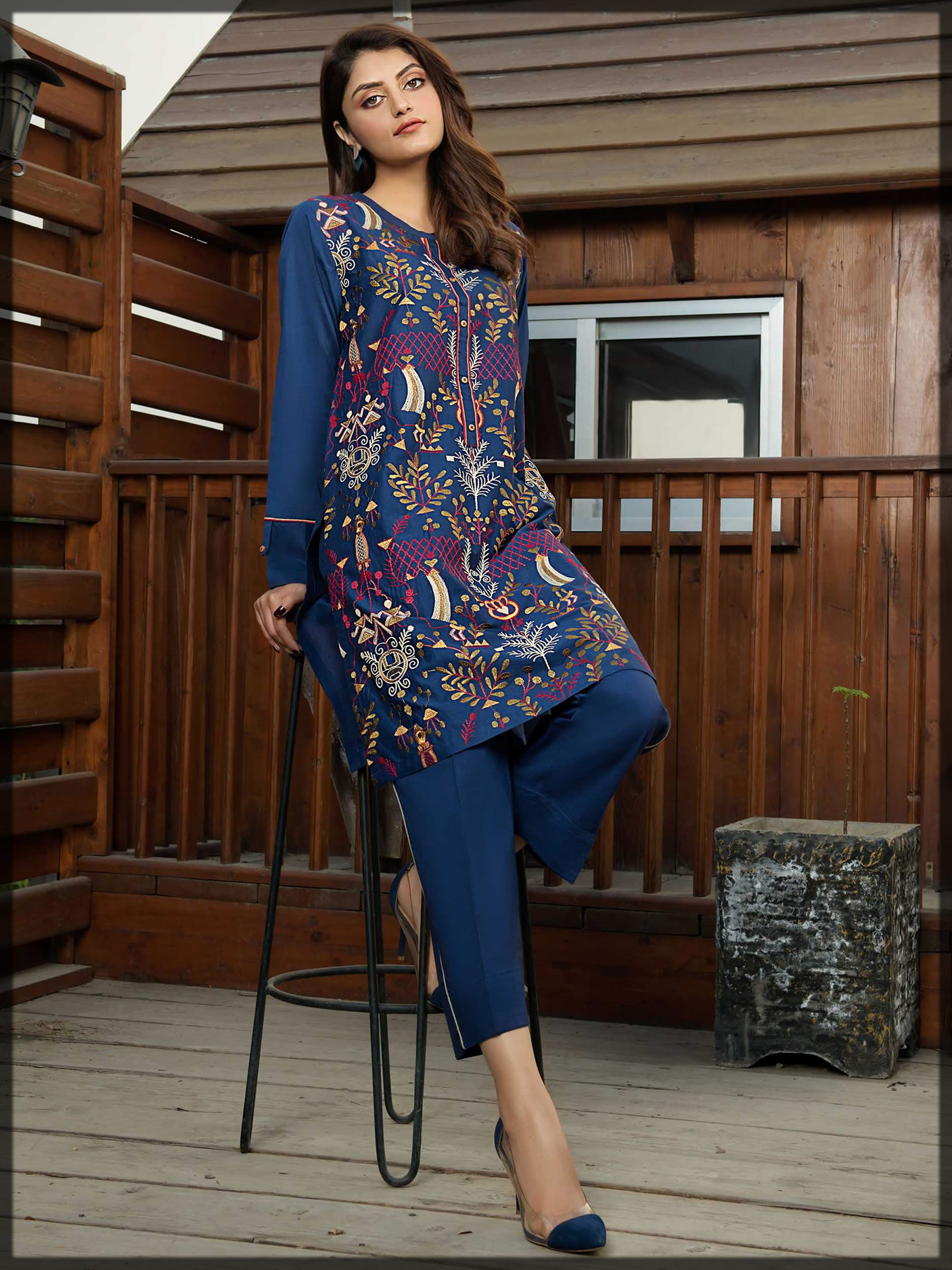 fully embroidered lawn blue suit