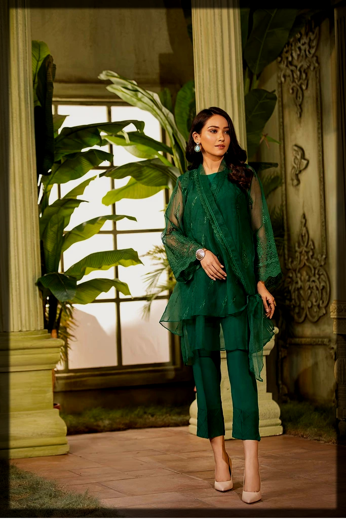 green Embroidered organza suit