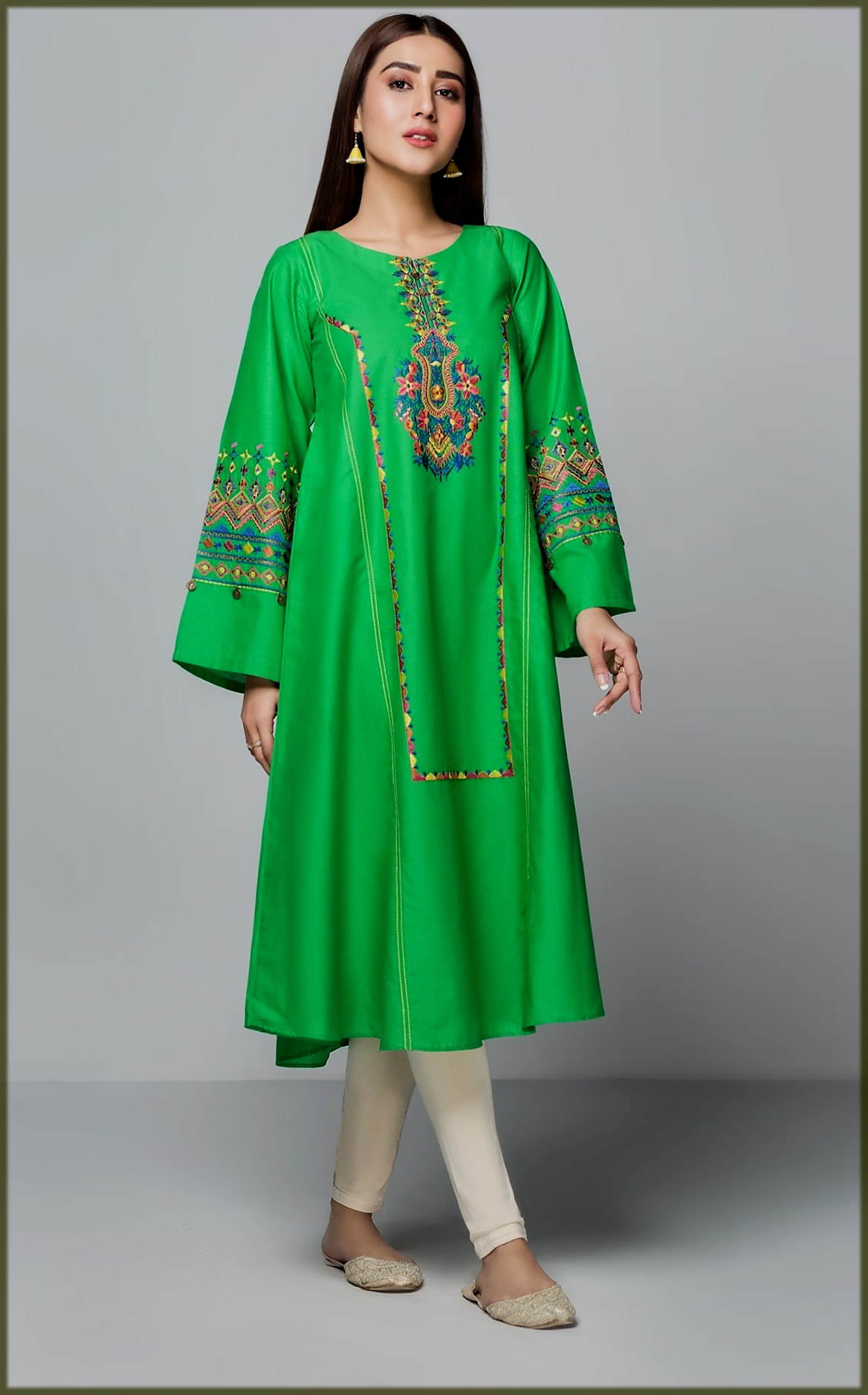green summer wear frock