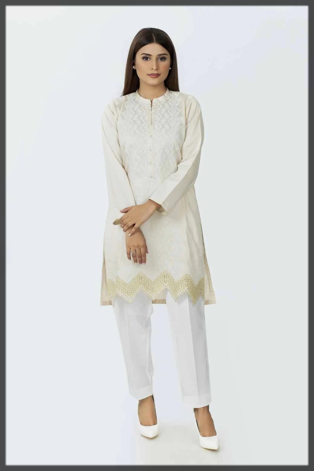 impressive cotton satin kurti by bonanza
