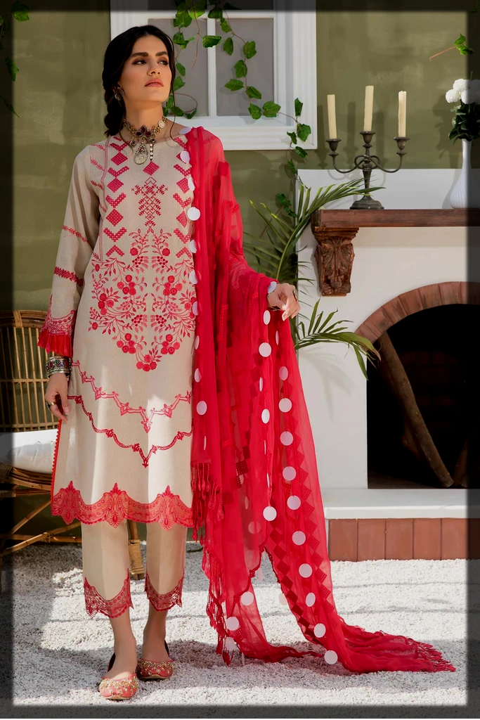 impressive lawn karandi suit by charizma