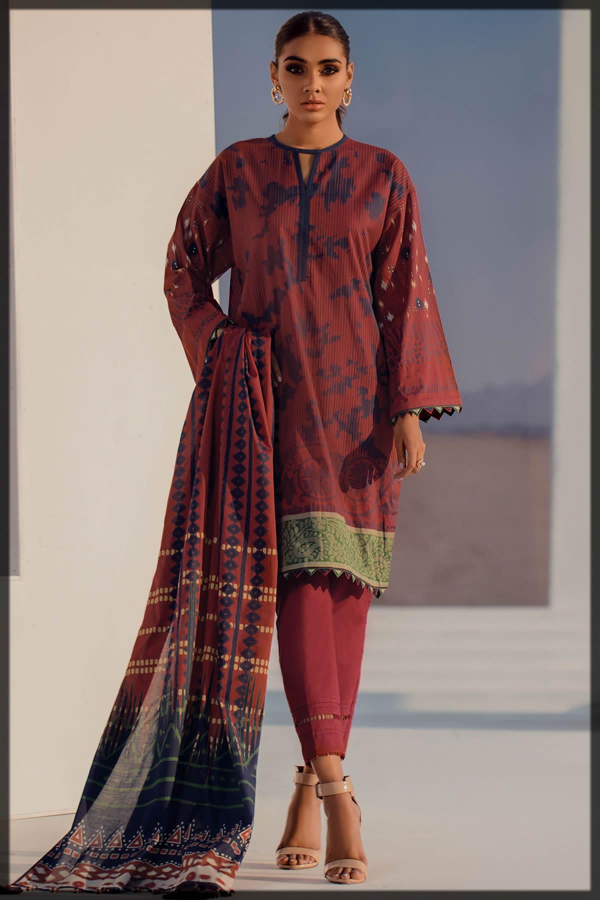 lawn dupatta 3pc dress by alkaram studio