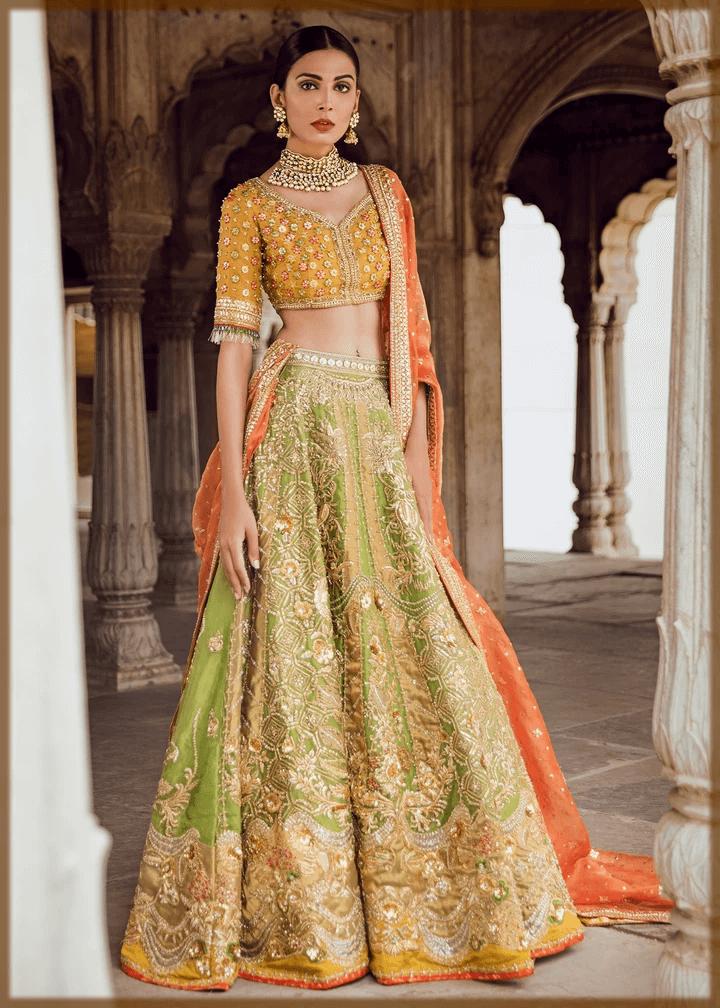 lehenga with choli bridal mehndi dress