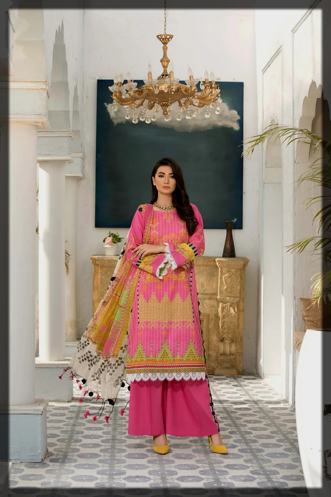 lovely pink charizma summer lawn suit