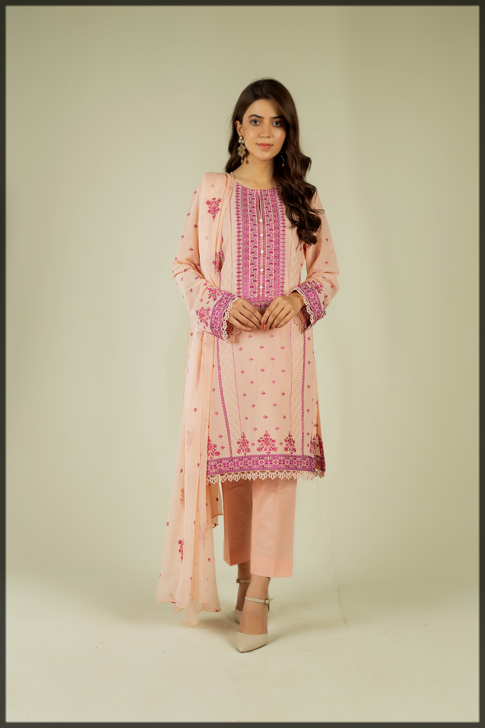 lovely pink lawn Embroidered Suit