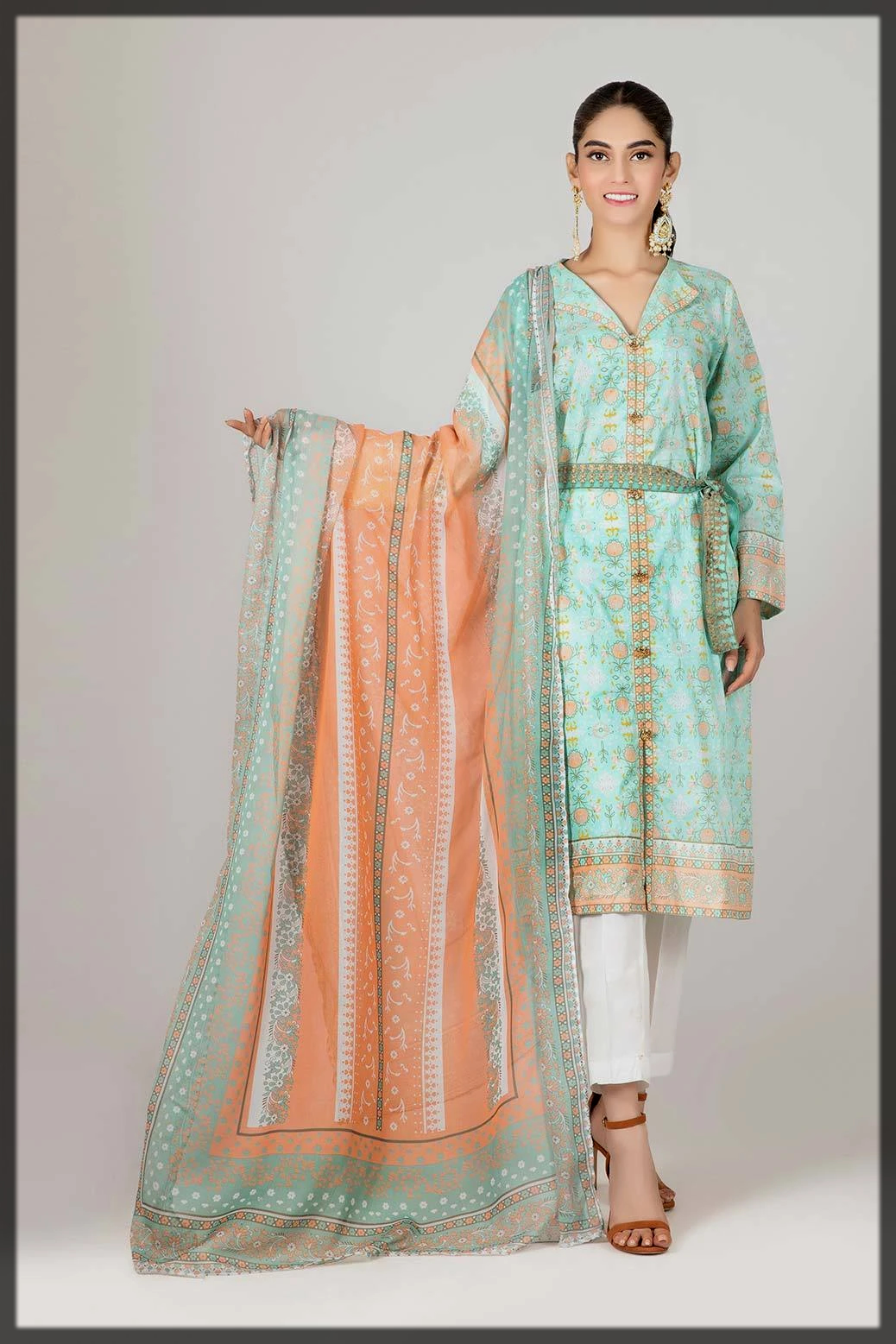 luxury lawn dress for women with chiffon dupatta