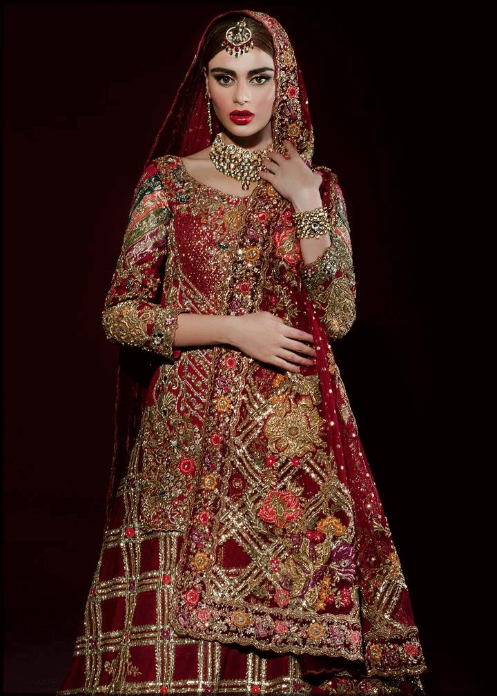 luxury red bridal barat dresses