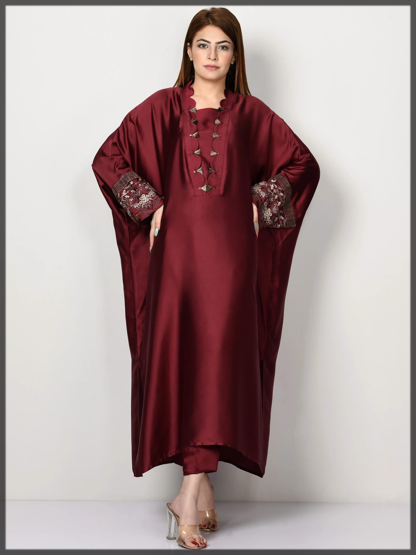 maroon embroidered silk suit