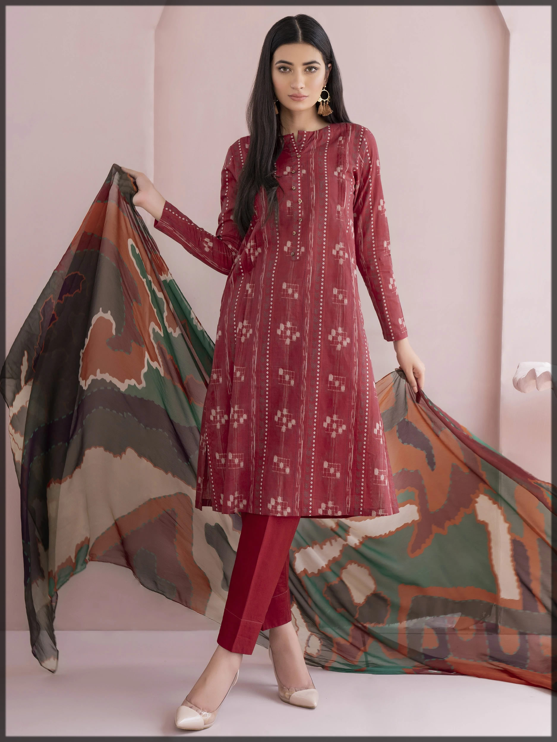 maroon lawn suit for women