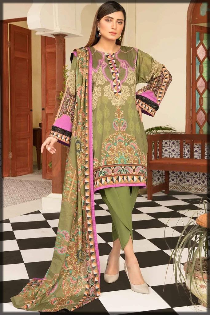 olive green summer lawn dress