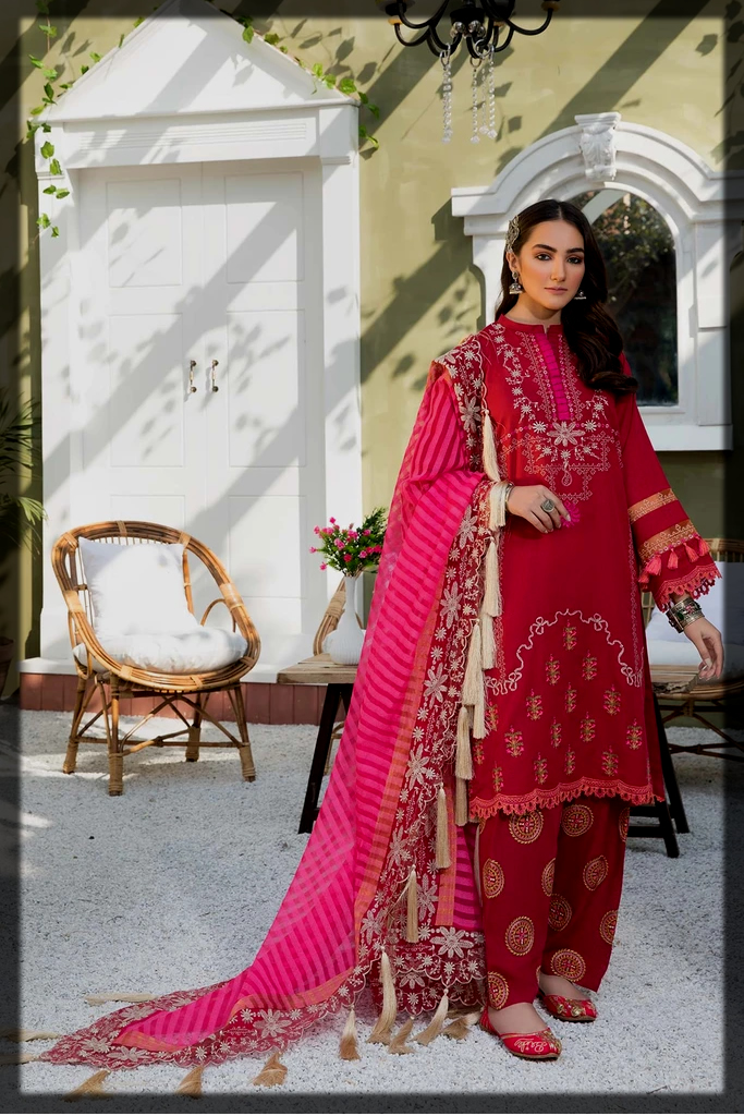 pink and red karandi suit collection