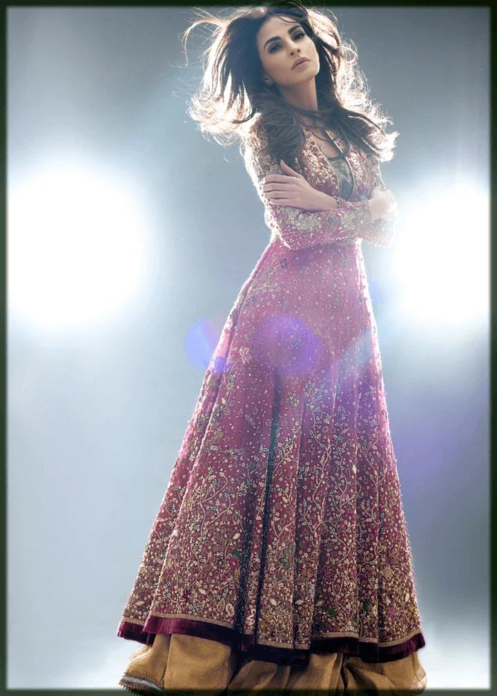 pink and yellow bridal mehndi dress