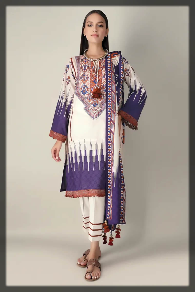purple printed suit for women