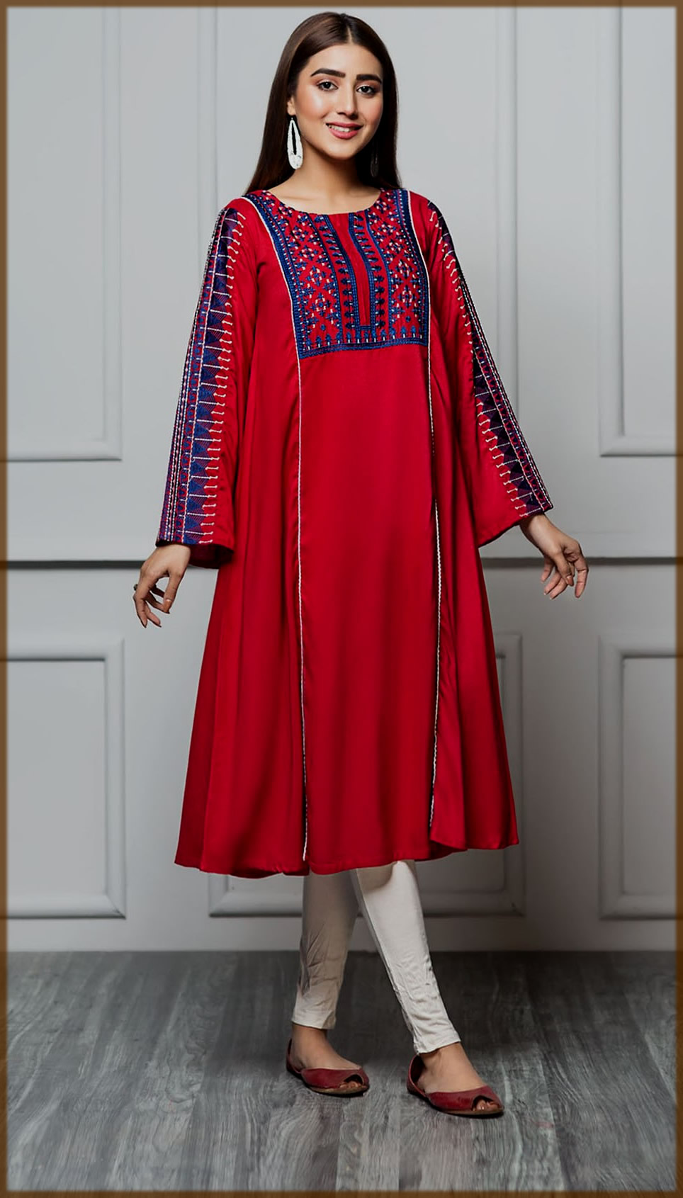 red and blue summer frock