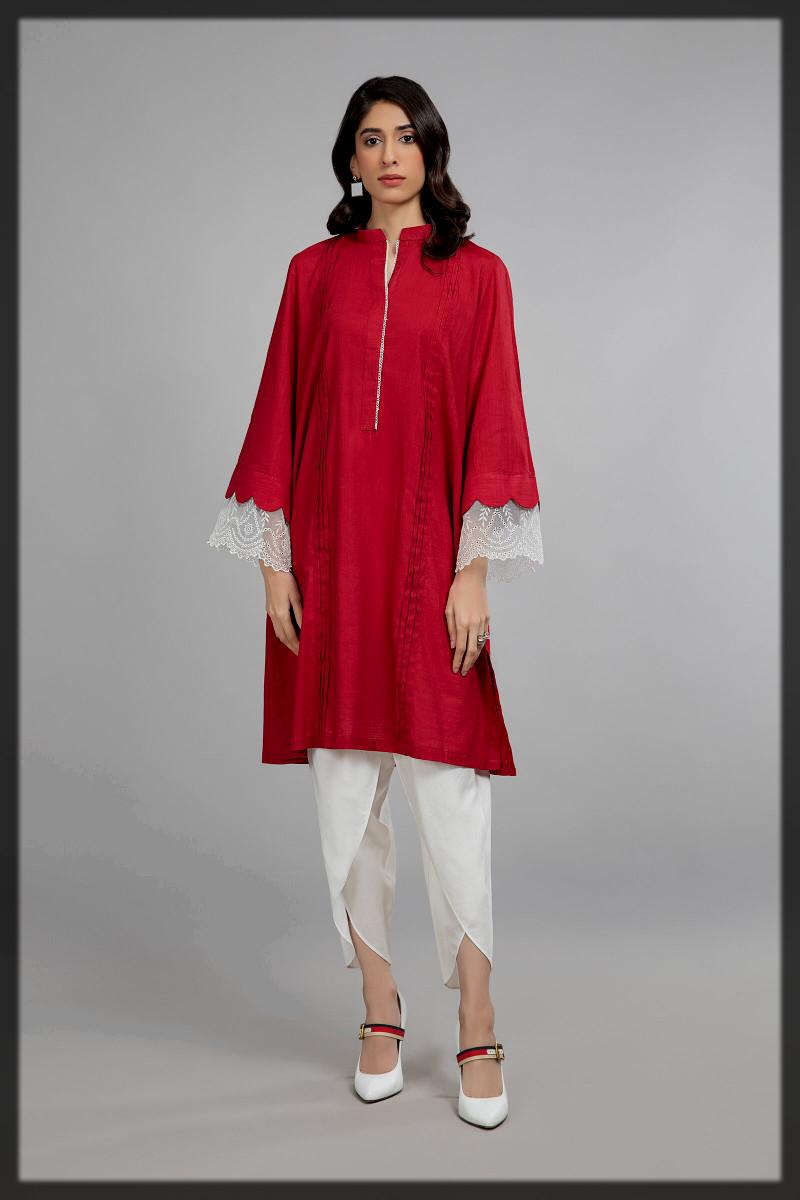 red summer kurta