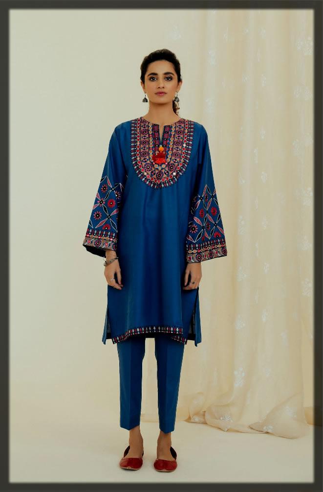 rich blue summer lawn suit for women
