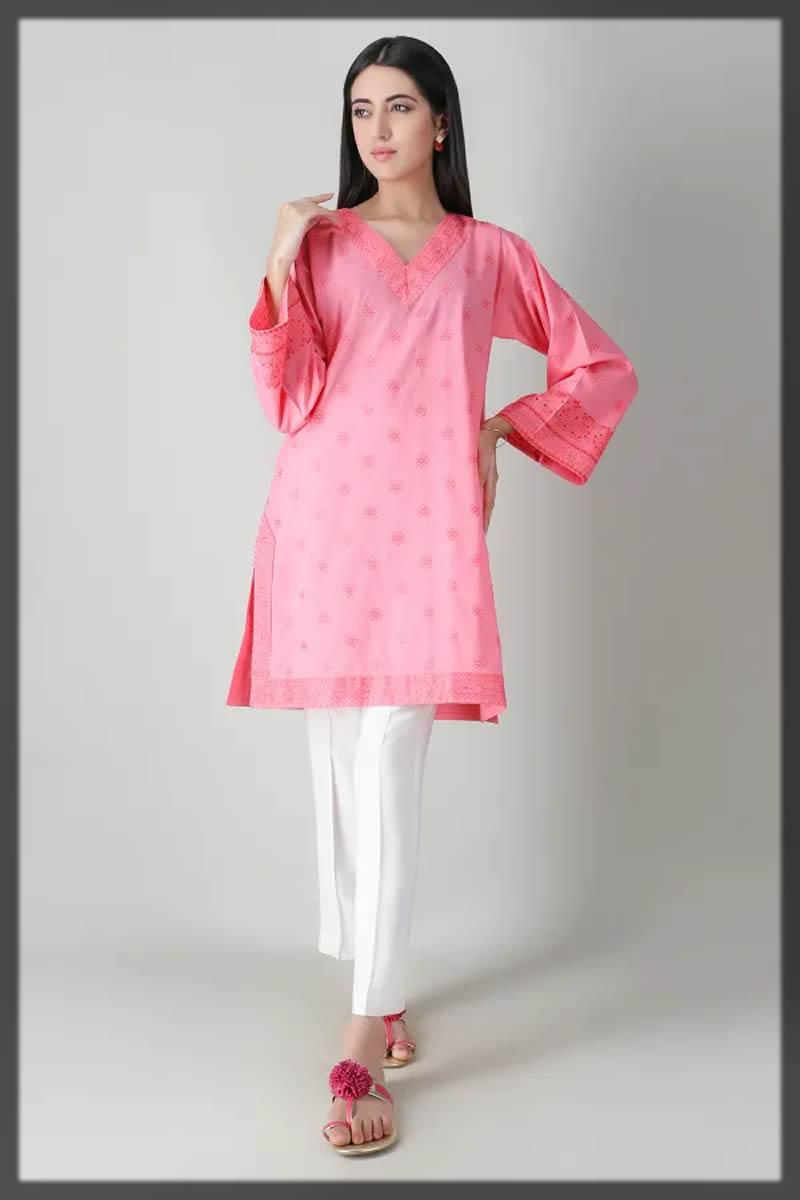 schiffli pink embroidered kurta