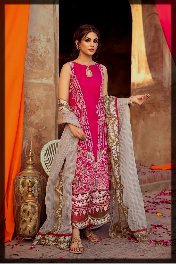 shocking pink party wear suit